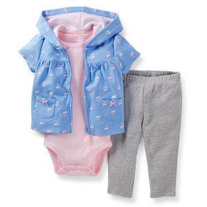 Cardigan Baby Girl Cherry Cardigan Pant Set